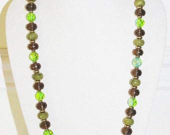Joan Rivers Beaded Necklace - Green Faceted Beads - T168 S1982
