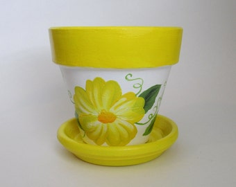 4 inch Yellow Flower Pot - Hand-painted Terra Cotta Planter With Matching Tray