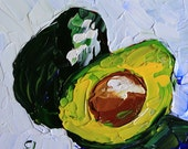 "Kitchen art Small original still life painting 6x6"" green white blue avocado acrylic on panel impressionist fruit fine art by Cristina Jaco"