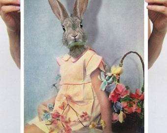 Rabbit Print, Rabbit Art Print, Rabbit Bunny Print, Rabbit Art, Bunny Print, Rabbit Wall Art,Yellow, Wall Art, Wall Decor,Vintage, Art Print