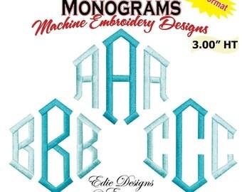 Diamond Monograms 3 Inch Machine Embroidery Designs Monogram Font BX Format Monograms Digitial Download