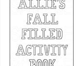 Personalized Printable Activity Book, Digital File, PDF, Fall