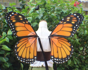 Custom XL Hand Painted Monarch Butterfly Inspired Wings
