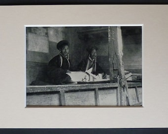 1940s Vintage Tibetan Courtroom Print of Judges at Lhasa Social history in Tibet, Justice in Tibet's administrative capital - Free Tibet Art