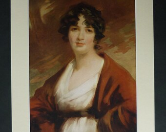 1919 Antique Portrait Print of Mrs Kenyon by John James Masquerier, Beautiful Woman, Brown Decor, Fresh Pale Skin Georgian Lady English Rose