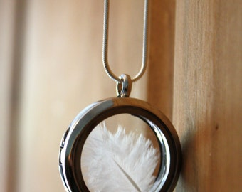 Silver pendant, white dove feather pendant, feather jewelry, feather necklace, silver locket