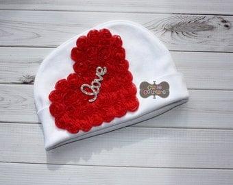 MORE STYLES-Boutique Style-Love-Beanie Hat-Cotton-Newborn Beanie-Newborn Hat-Hospital Hat-Shabby Chic-Hat-Baby Beanie