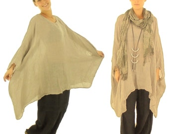 HH900BG ladies tunic poncho blouse linen layered look one size beige