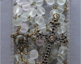Bronze - Catholic - 8mm Clear Glass Rosary