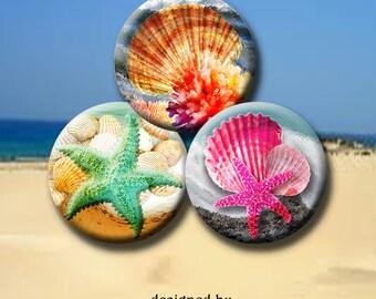 SEASHORE DREAMS  Digital Collage Sheet 1 inch round images for bottle caps, pendants, round bezels, etc. Instant Download #201.