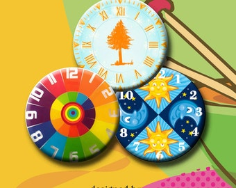 CLOCKS WITHOUT HANDS - 30 x 1.313 inch round images for buttons, pendants, scrap-booking etc.  Instant Download #173-2.
