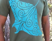 Manta Ray Shirt - Hahalua tee - blue blend screenprint on 12 available super soft cotton T-Shirt Colors. Original Hawaiian cultural artwork.