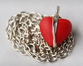red HEART pendant necklace, metalwork necklace, MAT glass jewelry, raw jewelry, GiFT idea, red pendant necklace, statement GLASS necklace