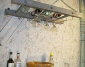Rustic Wooden Ladder Hanging Wine 4 Bottle Rack - Wall Mount with Glass Stemware Holder