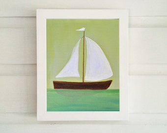 Sailboat Art - Sailboat Print - Nursery Room Print - Sailboat Art Print - Nautical Art Print  - Children's Room - Nursery Wall Art
