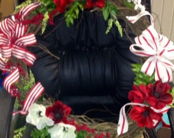 Red and White Anemone Wreath