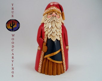 Wood Hand Carved Santa Christmas Collectible