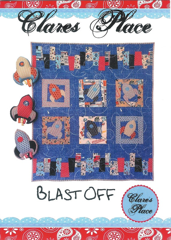 Pattern 39 39 blast off 39 39 space ship crib quilt for Space quilt pattern