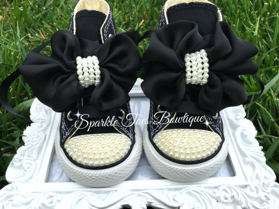 Breakfast at Tiffany's Shoes - Audrey Hepburn Costume - Black Tie Affair - Birthday Shoes - Pageant Shoes - Pearl Converse - Satin bow -
