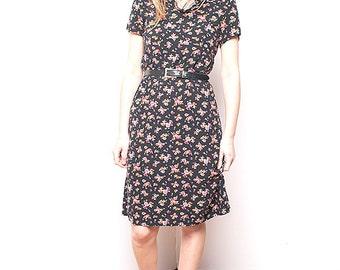 Vintage 90s 80s Black Floral Dress