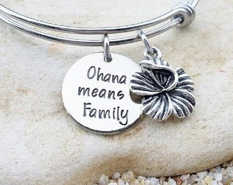 Sale - Ohana means Family (2) - Disney Bangle - Disney Bracelet - Lilo and Stitch - Ohana - Disney Wedding - Disney Gift - Bridesmaid Gift