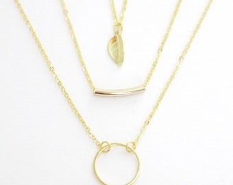 Gold Double Strand Layered Necklace, set of three, leaf, halo, with free gift box, solitaire minimalist simple delicate tiny dainty petite