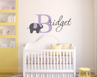 Elephant Wall Decal - Nursery Name Decal - Elephant Nursery Decor - Vinyl Wall Decal Elephant Decal - Nursery Wall Decal