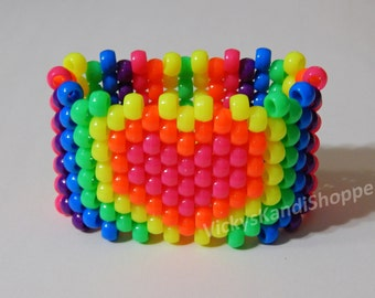 Rainbow Heart Kandi Cuff