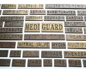 RESERVED for SCOTT // Vintage Engraved Solid Brass Nameplates / Medical Theme / Lot of 109 Pieces