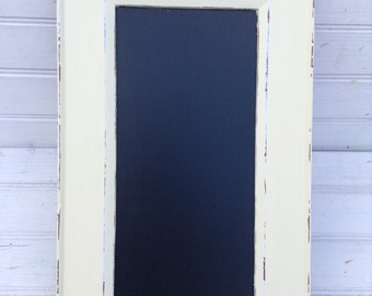 Ivory Chalkboard with Hooks Shabby Chic / Upcycled / Office Organization / Memo Board (078.1)