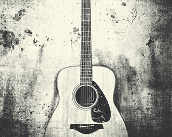 Guitar Photography, Fine Art Print, Musical Instrument, Music Room Decor, Music Lover Gift Idea, Guitarist Gift, Black and White Guitar Art