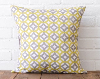 Geometric Yellow/Green and Grey Pillow