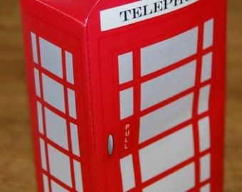Instant download Printable Traditional Red telephone / call Box / London Themed favor box