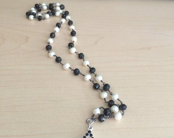 Black and white pearl wire wrapped necklace with diamond charm