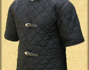 Gambeson,  Medieval, Celtic, Viking, Armor, Padded Gambeson, Short Sleeves, buckles on the front