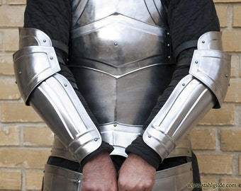 "Larp, fantasy, medieval, steel armor: Arm Bracers ""Titan"" (two units)"