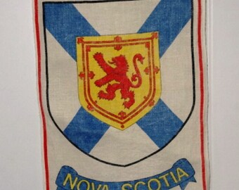 1980s Vintage Souvenir Linen Towel from Nova Scotia, Canada, with Coat of Arms Flag, Red, Yellow, and Blue, Vintage Linens, Home Decor