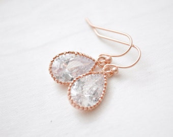 Rose Gold Earrings, Rose Gold Teardrop Earrings, Pink Gold CZ earrings, Bridesmaid Earrings, Bridesmaid Jewellery