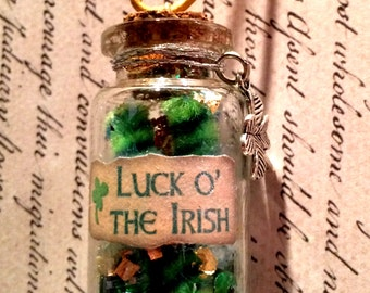 Luck O' the Irish Bottle Necklace - St. Patrick's Day, Good Luck Charm, Bottle Jewelry, Blacklight/UV Reactive Magic in Every Bottle!
