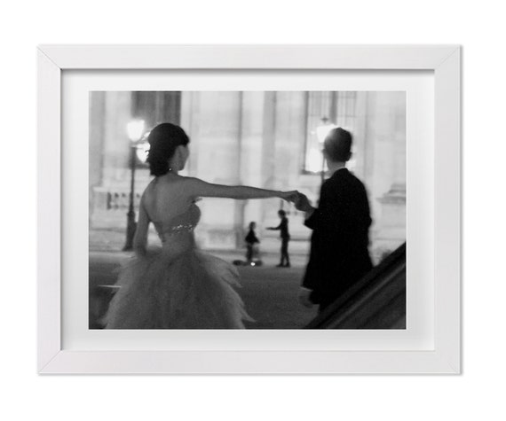 Paris Photography, Lovers at the Louvre, Black and White Art for Gallery Wall, Home Decor, Custom Size Paris Print, Street Photography