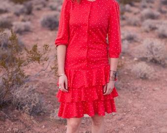 Red Polkadot Ruffle Dress - low waist, boho chic - size M