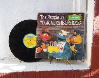 Sesame Street Album. The People In Your Neighborhood.  Record Album.  LP 33-1/3. Children's Music. Vintage
