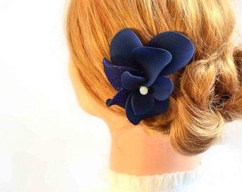 Navy blue headpiece Navy fascinator Bridal headpiece Ivory fascinator Flower headpiece Wedding hair comb