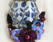 Magenta and Purple Pansy Statement Necklace, Violet Fabric Flowers, Dark Pink Handmade Jewellery, Unique Gift For Her