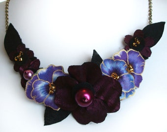 Magenta Pansy Necklace with Purple Violet Fabric Flowers, Statement Necklace, Dark Pink Handmade Jewellery, Unique Gift For Her