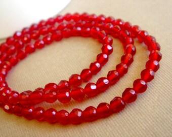 4mm Red Quartz Beads, Siam Round Beads, Faceted Quartz Beads, Destash Beads, 4mm - 8 inches