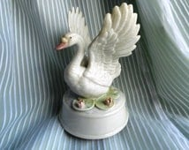 "Vintage 1960s Music Box with a Beautiful White Swan, Tune ""Swan Lake"""