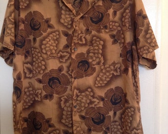 Vintage Tiki Hawaiian Mens Towncraft Shirt Sz L