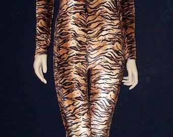 Velvet Tiger Unitard Catsuit Bodysuit - Medium