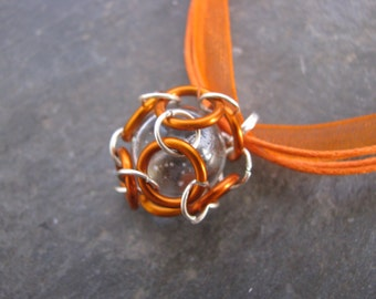 Caged Marble Necklace; Chainmaille; Orange Jump Rings; Silver Jump Rings, Clear Marble